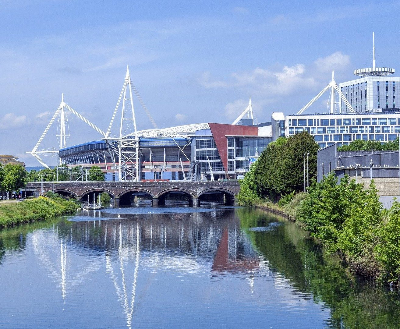 Cardiff River Taff Stadium View